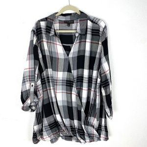 Lane Bryant surplus faux wrap front plaid blouse
